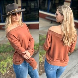 Chestnut Slouchy Off/On Shoulder Tunic